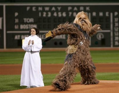Chewbacca Pitches for Red Sox