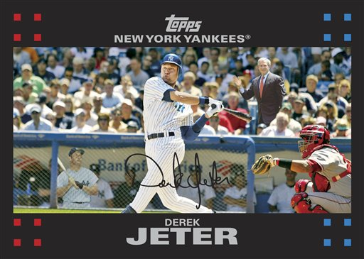 Derek Jeter Baseball Card with George Bush and Mickey Mantle
