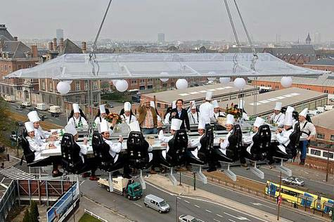 Chefs eating at the dinner in the sky