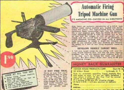 Tripod swivel machine gun from comic book