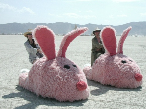 Motorized pink bunny slippers